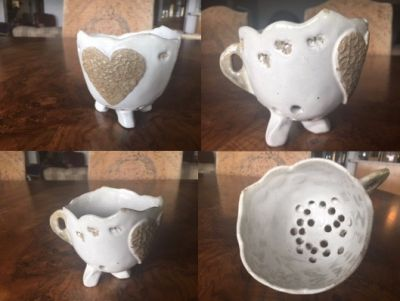 Hand-Built Pottery: Berry Bowl with Heart A...
