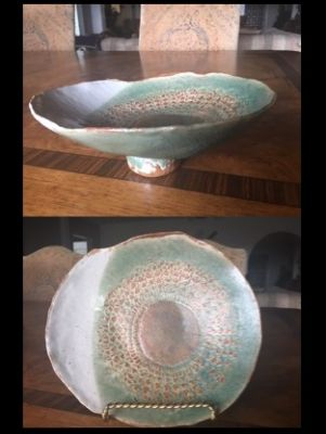 Hand-Built Pottery: Sea Green Lace Serving ...