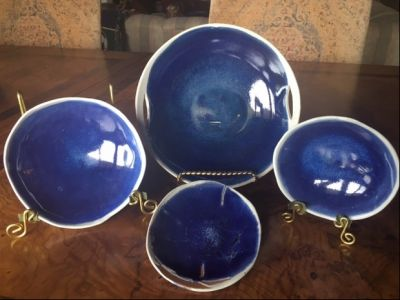 Hand-Built Pottery: Set of 4 Serving Bowls