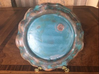 Hand-Built Pottery: Teal and Gold Round Ser...