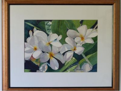Hawaiian Flowers Framed Watercolor