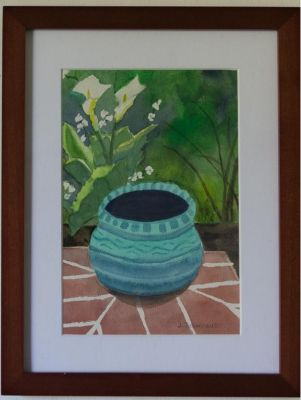 Garden Still Life Framed Watercolor