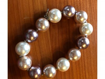 Large Pearl Bracelet - Rose Colored