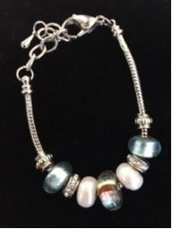 Teal and White Charm Bracelet