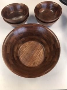 Handcrafted Segmented Salad Bowl and Four S...