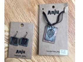 Anju Mixed Metal Leaf Necklace and Earrings