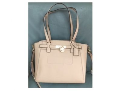 Michael Kors Beige Leather Hamilton Satchel...