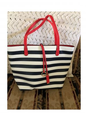 Black and White Striped Bag with Red Handle...