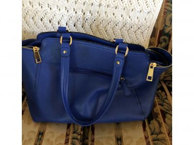 Blue Purse with Gold Hardware