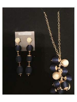 Blue and Gold Necklace and Earrings Set