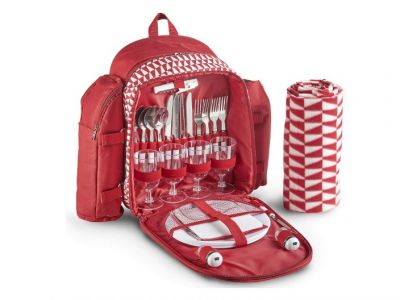 VonShef 4 Person Red Picnic Backpack