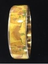 Van Gogh Sunflowers Gold tone Bangle Bracel...