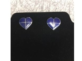 Lapis and Sterling Heart Shaped Earrings