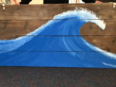 Wave Painting on Weathered Wood